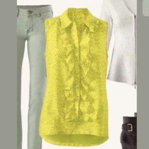 Cabi Chartreuse Sheer Career Blouse Ruffle #3071